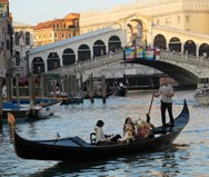 Gondolas at Rialto bridge, Venice