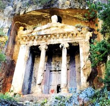 Ancient Rock Tombe in Fethiye Turkey