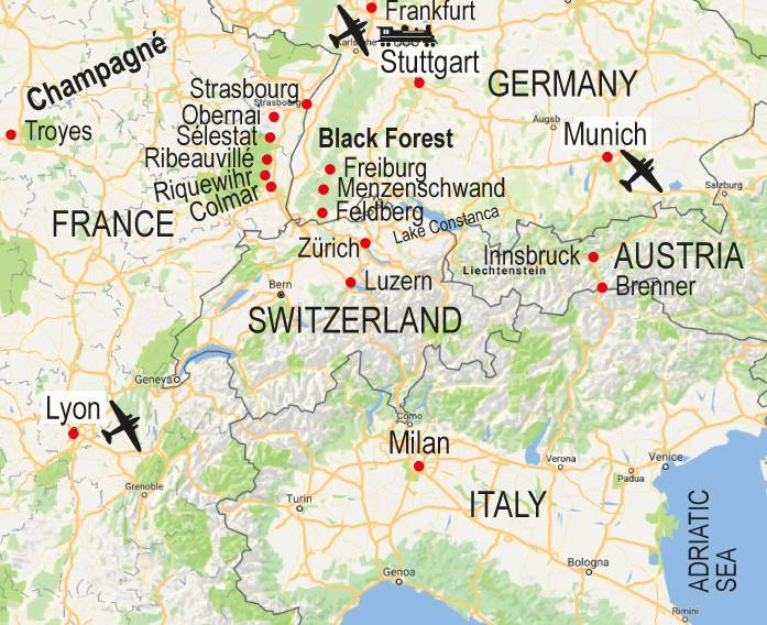 Map Of Germany France.Walk Map France Germany