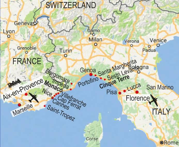 French Riviera Map walk map french riviera French Riviera Map
