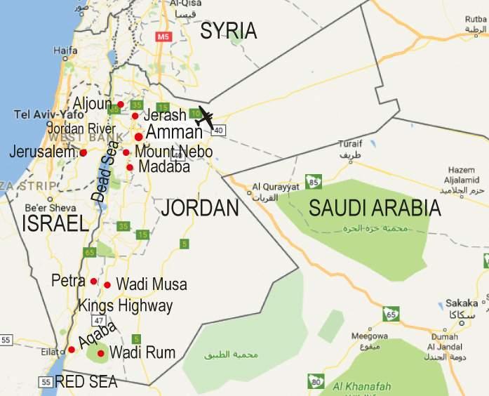 Jordan Map Map Of Jordan Jordan Map In English: Walk-map-jordan